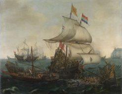 Dutch ships ramming Spanish galleys off the English coast