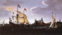 Arrival of a Dutch Three-master at Schloss Kronberg   Hendrick Vroom   Oil Painting