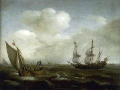 A Dutch Ship and a Kaag in a Fresh Breeze | Hendrick Vroom | Oil Painting