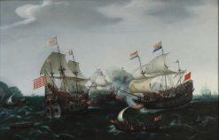 Skirmish between Dutch and British Warships | Hendrick Vroom | Oil Painting