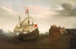 A Castle with a Ship Sailing Nearby | Hendrick Vroom | Oil Painting