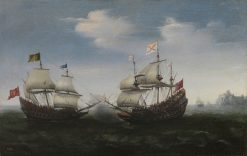 Naval Battle off a Rocky Coast | Hendrick Vroom | Oil Painting