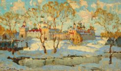 Russian Monastery in Winter   Konstantin Gorbatov   Oil Painting
