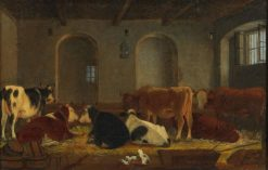 Cows and Cats in the Stable | Johann Michael Neder | Oil Painting