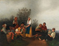 Schreiber Family at the Vineyard | Johann Michael Neder | Oil Painting