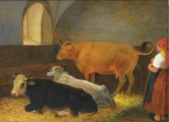 A Maid in a Cow Barn | Johann Michael Neder | Oil Painting
