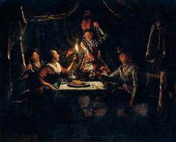 Nocturnal Scene With A Harlequin Surprising A Merry Company In A Curtained Interior | Matthijs Naiveu | Oil Painting
