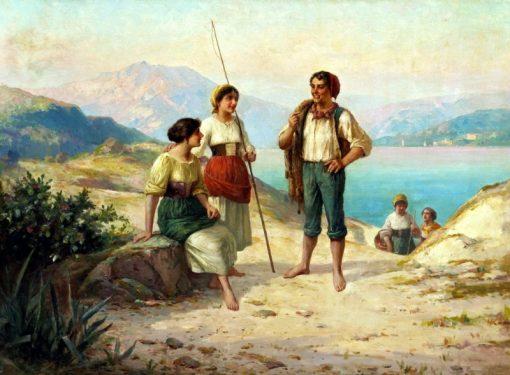 Fisherfolk on a track | Carlo Ferranti | Oil Painting
