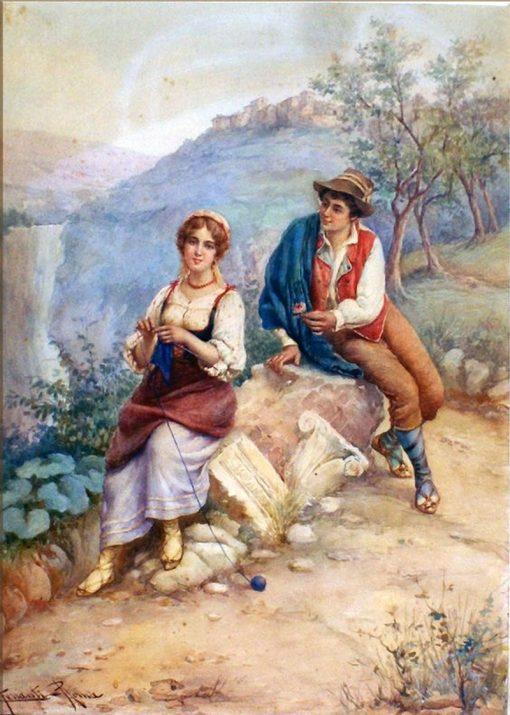 Lovers by the Tivoli Waterfall | Carlo Ferranti | Oil Painting