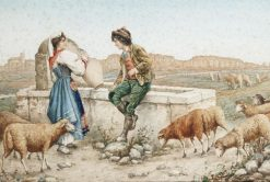 Flirting by the well | Carlo Ferranti | Oil Painting