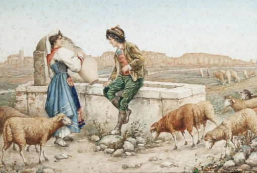 Flirting by the well   Carlo Ferranti   Oil Painting