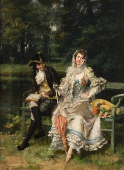 Couple on Park Bench | Giuseppe Castiglione | Oil Painting