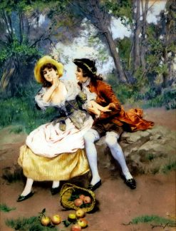 A flirtatious moment | Daniel Hernández Morillo | Oil Painting