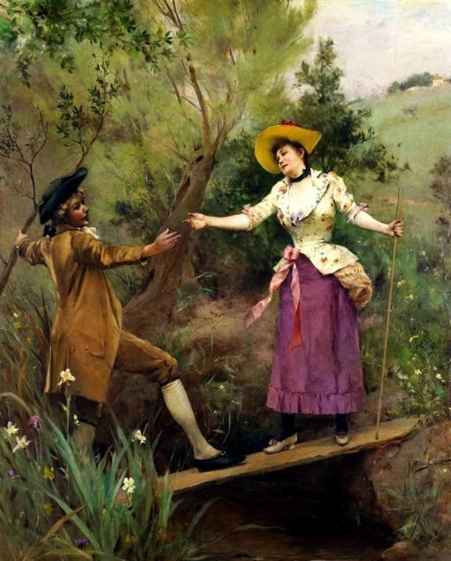The helping hand | Emile-Auguste Pinchart | Oil Painting
