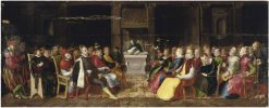 A Vanitas - Capriccio of a Dominican preaching to the Emperor Charles V | Hieronymus Francken I | Oil Painting