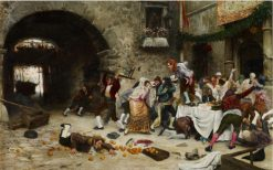 Interrupted Banquet   Juan Jose Garate y Clavero   Oil Painting