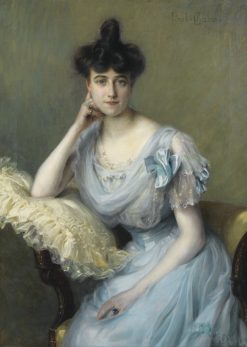 Portrait of a Young Woman in a Blue Dress | Paul Emile Chabas | Oil Painting