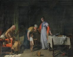 Jeune femme portant secours a une famille malheureuse   Martin Drölling   Oil Painting