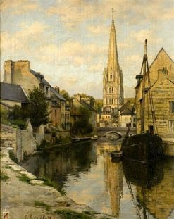 Le canal dHarfleur | Emile Renouf | Oil Painting