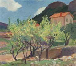 French Landscape with Fruit Trees   Anna Wood Brown   Oil Painting