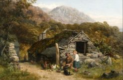 Figures and chickens before a stone cottage | William Bromley