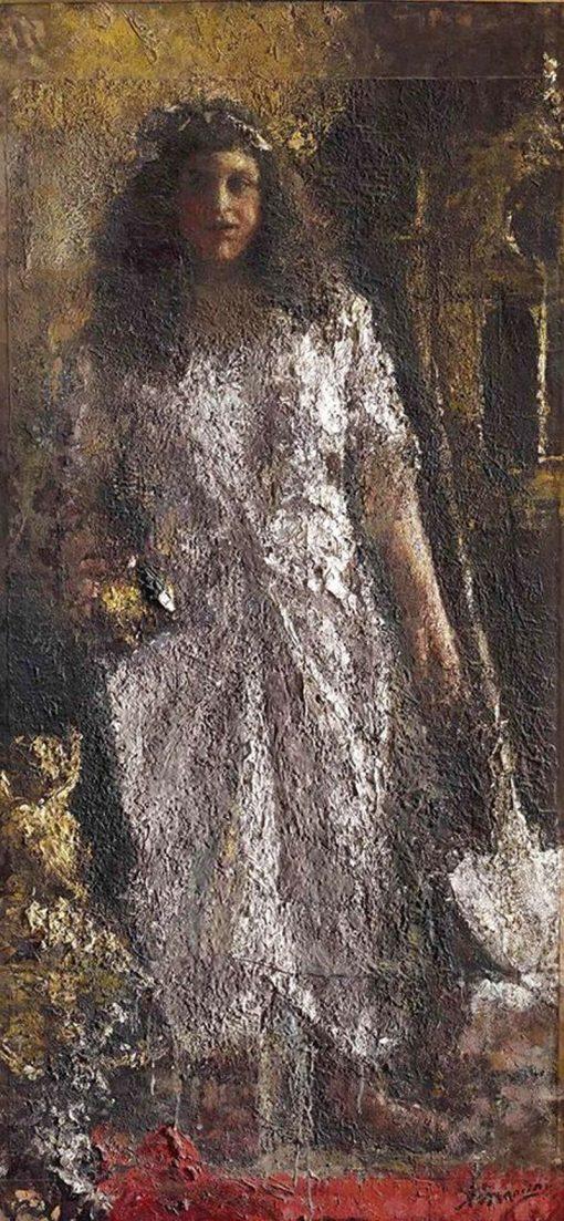 LAngelo che costruisce una cattedrale | Antonio Mancini | Oil Painting