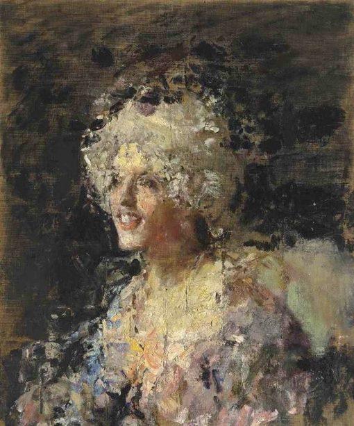 Donna in Costume del Settecento   Antonio Mancini   Oil Painting