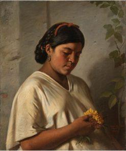Portrait of a Woman with a Marigold   Felipe Santiago Gutierrez   Oil Painting