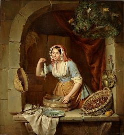 Young woman selling herring and chestnuts | Elisabeth Alida Haanen | Oil Painting