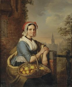 A woman carrying a basket of fruit | Elisabeth Alida Haanen | Oil Painting