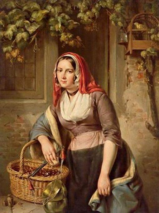 The Chestnut Seller   Elisabeth Alida Haanen   Oil Painting