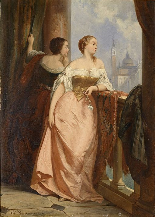 Two Ladies on the Balcony | Edouard Hamman | Oil Painting