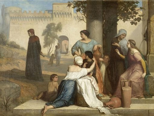 Historical scene from the life of Dante   Edouard Hamman   Oil Painting