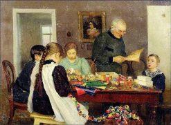 Preparing for Christmas   Nicolai Vasilevich Dosekin   Oil Painting