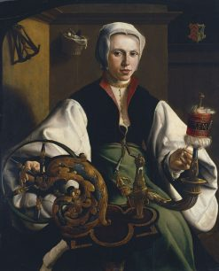 Portrait of a Lady Spinning | Maerten van Heemskerck | Oil Painting