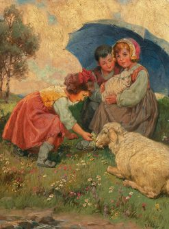 Children with sheep on the summer meadow | Rudolf Alfred Höger | Oil Painting