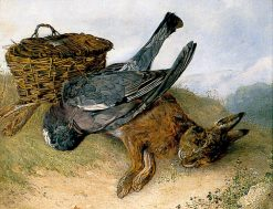 Still Life of Hamper with Dead Wood Pigeon and Leveret | Emily Stannard | Oil Painting