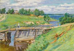 A River Landscape with a Bridge | Sergei Arsenevich Vinogradov | Oil Painting