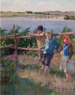 Children by a Lake | Nikolai Petrovich Bogdanov-Belsky | Oil Painting
