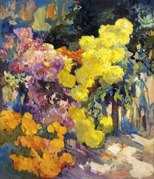 A Walkway Lined with Pink and Yellow Chrysanthemums | Franz Bischoff | Oil Painting