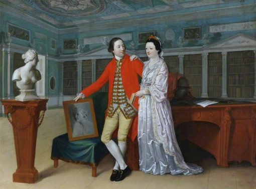 Sir Rowland Winn and His Wife Sabine Louise dHervart in the Library at Nostell Priory | Hugh Douglas Hamilton | Oil Painting