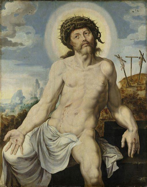 Christ as the Man of Sorrows   Maerten van Heemskerck   Oil Painting