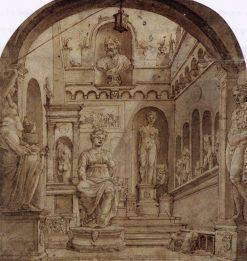Sculpture Court of the Casa Sassi in Rome | Maerten van Heemskerck | Oil Painting