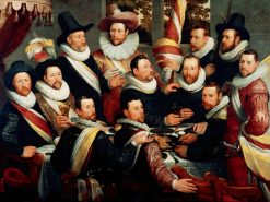 Banquet of the officers and sub-alterns of the Haarlem Calivermen Civic Guard | Cornelis van Haarlem | Oil Painting