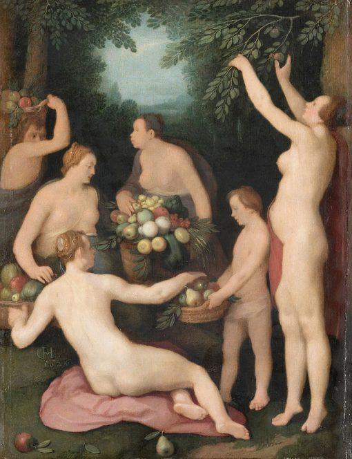 Pomona receiving the harvest of fruit | Cornelis van Haarlem | Oil Painting