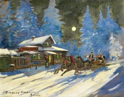A winter sledge ride | Constantin Alexeevich Korovin | Oil Painting