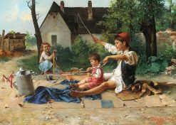 Children Playing | Arpad Cserepy | Oil Painting