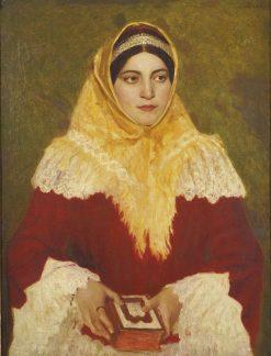 Portrait of a Jewish woman holding a prayer book   Lazar Krestin   Oil Painting