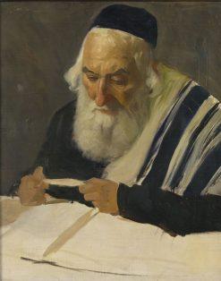 Rabbi reading   Lazar Krestin   Oil Painting