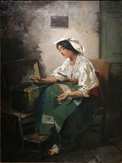 Girl Sewing | Domenico Induno | Oil Painting